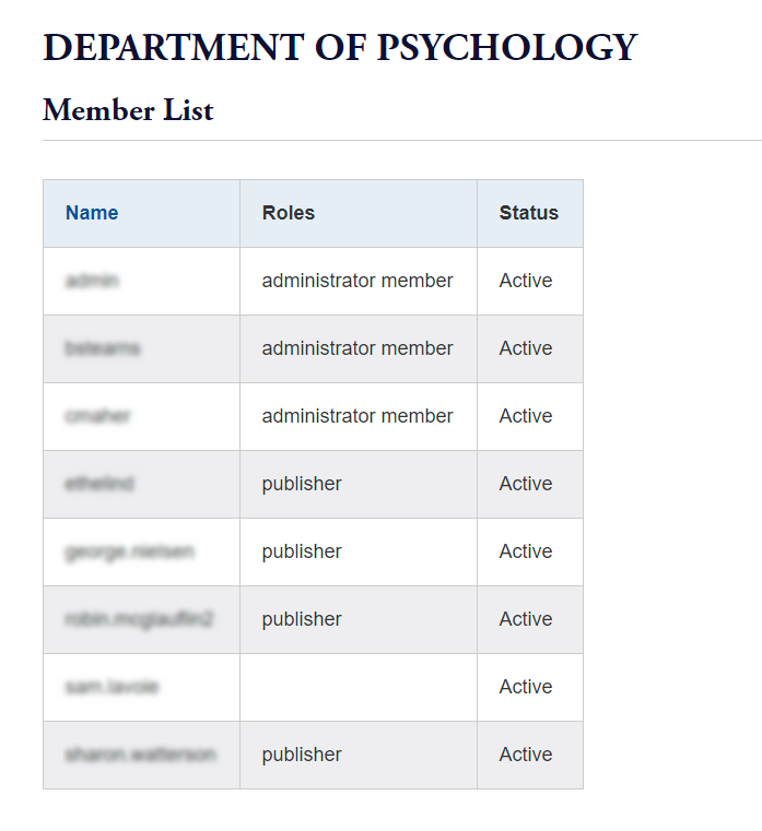 image of a CMS subsite Member List table showing Name, Roles, and Status columns