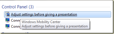 Shows adjust settings before giving presentation in search results.